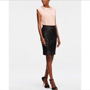 Ann Taylor Black Sequin Pencil Skirt Business